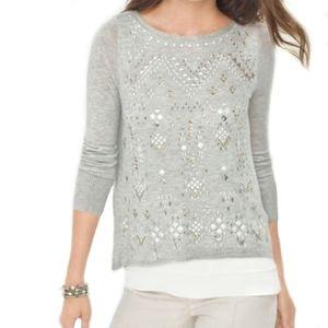 WHBM gray white embellished hi low layered blouse